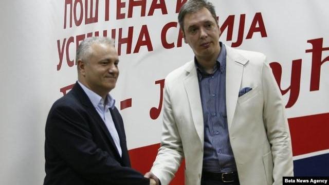 Lideri Ujedinjenih regiona Srbije i Srpske napredne stranke, Mlađan Dinkić i Aleksandar Vučić