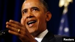 Presiden Amerika Barack Obama saat menyampaikan pidato tentang Badan Keamanan Nasional dari Depertemen Kehakiman di Washington (17/1).