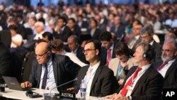 Les participants à la conférence sur le climat à Lima, au Pérou (AP)