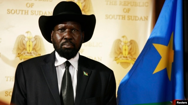 South Sudan's President Salva Kiir, shown at a news conference on Friday, April 12, 2013, has stripped his deputy of some of his powers.