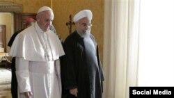 El presidente iraní, Hasan Rouhani, visitó al papa Francisco en el Vaticano, el martes, 26 de enero de 2016.