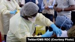 Mosali ya bokolongono azali kopesa mangwele ya Ebola na mwasi moko na Butembo, Nord-Kivu, 15 février 2021. (Twitter/OMS RDC)