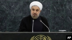 2013年9月24日伊朗总统鲁哈尼于纽约在第六十八届联大会议上发表讲话。