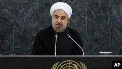 Presiden Iran Hassan Rouhani memberikan sambutan di hadapan Sidang Majelis Umum PBB ke-68 di kantor pusat PBB, New York, Selasa (24/9).