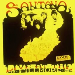 """This is part of the original poster of Carlos Santana 's """"Live at the Fillmore"""" concert in December 1968"""