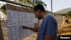 Cử tri trước một trung tâm bỏ phiếu ở San Salvador.