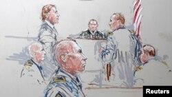 Gambar ilustrasi persidangan Sersan Robert Bales (depan) yang melakukan penembakan membabi buta di Afghanistan. (Foto: Dok)