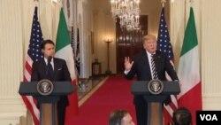 အီတလီ၀န္ႀကီးခ်ဳပ္ Giuseppe Conte နဲ႔ အေမရိကန္သမၼတ Donald Trump ပူးတဲြသတင္းစာ ရွင္းလင္းပဲြ ( ဇူလိုင္ ၃၀-၂၀၁၈)