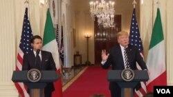 El presidente de EE.UU. Donald Trump (derecha) y el primer ministro de Italia, Giuseppe Conte, ofrecen conferencia de prensa en la Casa Blanca. Washington, julio 30 de 2018.