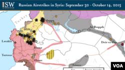Карта районів російських повітряних ударів у Сирії
