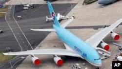 收到炸彈威脅的大韓航空客機。