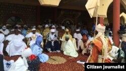 Lamidon Adamawa Dr Mustapha Barkindo yana karbar gaisuwar sallah