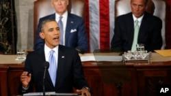 2014年1月28日夜晚,奥巴马总统在国会发表年度国情咨文演说