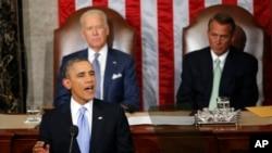 美国总统奥巴马1月28日在华盛顿国会山发表国情咨文演说。