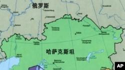 邻近中国的中亚五国略图