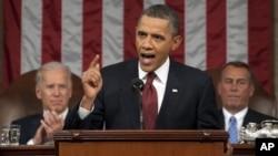 美國總統奧巴馬一月24日在華盛頓美國國會大廈發表國情諮文