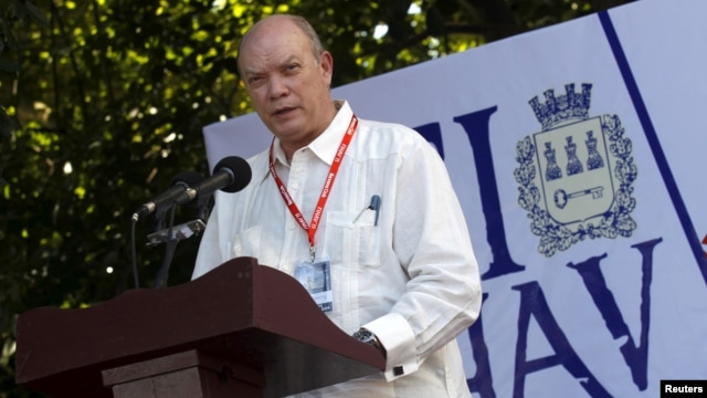 FILE - Cuba's Minister of Foreign Trade and Commerce Rodrigo Malmierca Diaz addresses the audience during the opening ceremony of the International Fair of Havana (FIHAV), in Havana, Nov. 2, 2015.