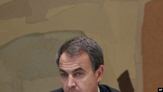 Spanish Prime Minister Jose Luis Rodriguez Zapatero attends a meeting to discuss security issues after the killing of Osama Bin Laden, at Moncloa palace in Madrid, May 3, 2011