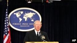 美軍太平洋司令部司令威拉德上將在外國記者中心的一次記者會上說明美軍在亞太地區概況