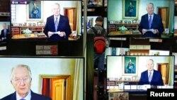 3일 벨기에 국왕 알베르 2세의 퇴위 발표 내용이 텔레비전에 방영되고 있다.