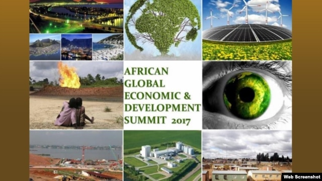 A screenshot shows a portion of the home page for the African Global Economic and Development Summit.