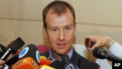 Michael Mann, spokesman for EU foreign policy chief Catherine Ashton, speaks to media in Istanbul, April 14, 2012.
