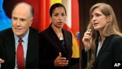 From left: Tom Donilon, Susan Rice, Samantha Power