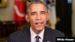 奥巴马总统发表例行周末讲话(资料照)