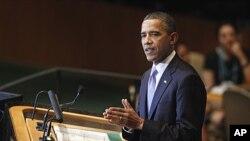 سهرۆکی وڵاته یهکگرتووهکانی ئهمهریکا باراک ئۆباما له میانهی پێشکهشکردنی وتارهکهی خۆی له 66 ههمین کۆبوونهوهی کۆمهڵهی گشـتی نهتهوه یهکگرتووهکان له نیویۆرک، چوارشهممه 21 ی نۆی 2011