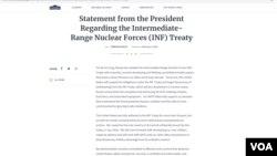 刊登在白宮網站上的特朗普總統的聲明。美國總統特朗普星期五宣布退出已有30多年歷史的中程導彈條約。(網站截圖)