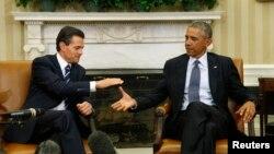 Tổng thống Hoa Kỳ Barack Obama (phải) và Tổng thống Mexico Enrique Pena Nieto hội đàm tại Tòa Bạch Ốc, 6/1/15