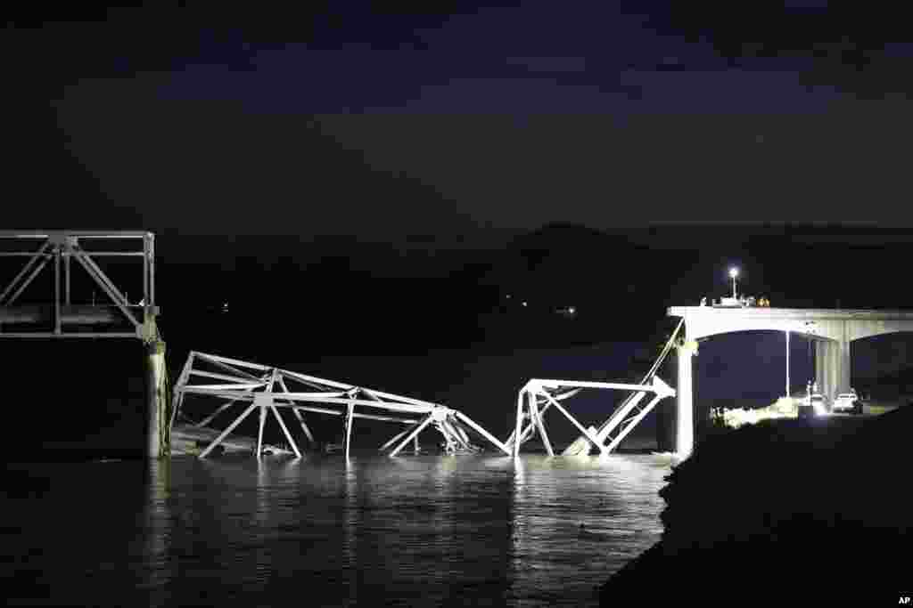 The Interstate 5 bridge after it collapsed into the Skagit River dumping vehicles and people into the water in Mount Vernon, Washington, May 23, 2013.