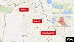 Map of Sulaymaniyah, Kirkuk and Mosul in Iraq.