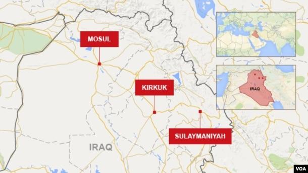 Map of Sulaymaniyah, Kirkuk and Mosul in Iraq.