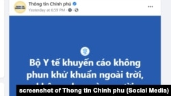 Bộ Y tế Việt Nam khuyến cáo các tỉnh, thành không phun khử khuẩn ngoài trời, 2/8/2021.