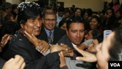 Morales dijo que desea tener buenas relaciones con Chile y Brasil. No obstante, volvió a criticar a su colega peruano, Alan García.
