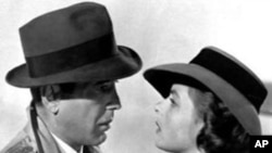 Humphrey Bogart and Ingrid Bergman in an iconic scene from the classic love story, 'Casablanca.'