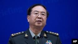 22일 마틴 뎀프시 미 합참의장이 베이징 방문한 가운데, 공동기자회견에서 발언하는 팡펑후 중국 인민해방군 총참모장.