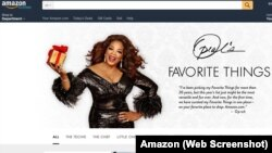 "A screenshot of Amazon's website, which is showcasing media mogul Oprah Winfrey's ""Favorite Things"" for the holidays."