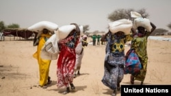 People living in the Melia IDP camp, Lake Chad, receiving WFP food.