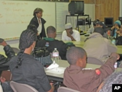 Deborah Estell, teacher and coordinator of the Omega Leadership Academy, conducts a class.