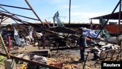 Lieu de l'attentat dans un quartier de Bagdad le 19 mars 2013