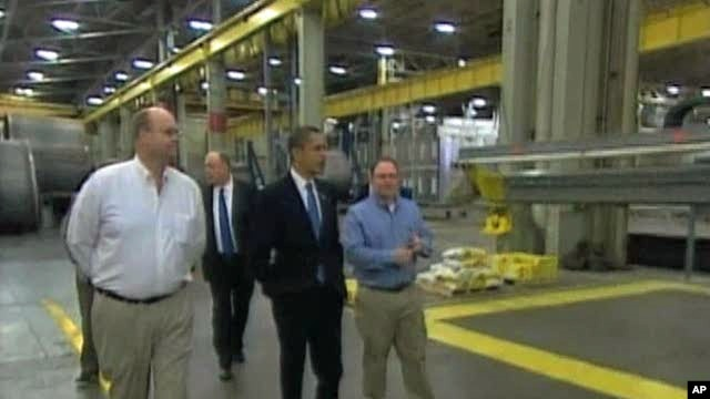 President Barack Obama visiting a U.S. factory