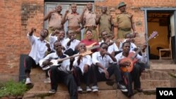 FILE - Members of the Prison Reform Band outside their makeshift recording studio at the Zomba maximum-security prison in eastern Malawi. (Credit: L. Masina/VOA)