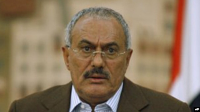 Yemeni President Ali Abdullah Saleh during a media conference in Sana'a, March 18, 2011