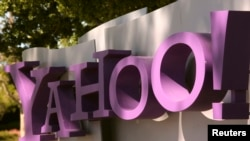 FILE - The Yahoo logo is shown at the company's headquarters in Sunnyvale, California, April 16, 2013.