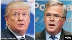 Donald Trump (left) and Jeb Bush, Republican presidential candidates.