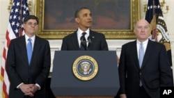 奧巴馬宣佈傑克‧盧(圖左)將接替威廉‧戴利(圖右)擔任白宮辦公廳主任