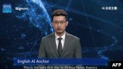 ٹیلی وژن کا روبوٹک نیوز اینکر اے آئی خبریں پڑھتے ہوئے۔ 9 نومبر 2018