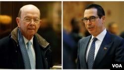 Calon Menteri Perdagangan AS, Wilbur Ross (kiri) dan calon Menteri Keuangan Steven Mnuchin.